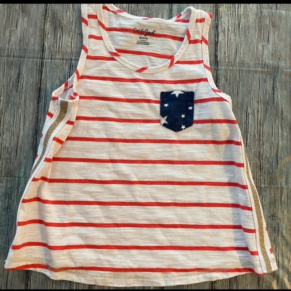 💞 Girls Medium Americana Pocket Tank Top